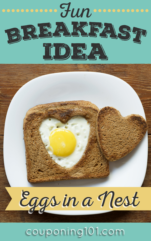 Easy and fun breakfast idea - eggs in a nest! Use cookie cutters to make fun shapes for the kids!