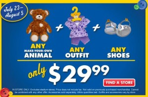 graphic regarding Build a Bear Printable Coupons titled Establish-A-Go through Workshop: ANY Animal, Outfit, and Sneakers for $29