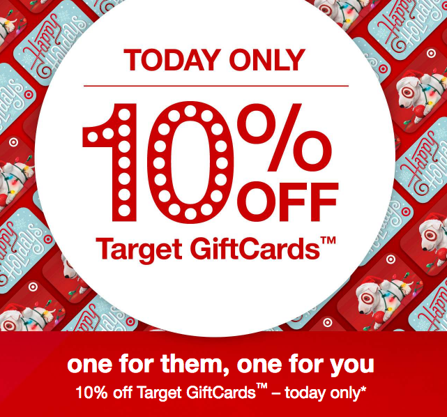 *HOT* 10% off Target Gift Cards, TODAY ONLY!